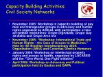 capacity building activities civil society networks