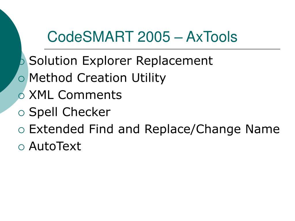 CodeSMART 2005 – AxTools