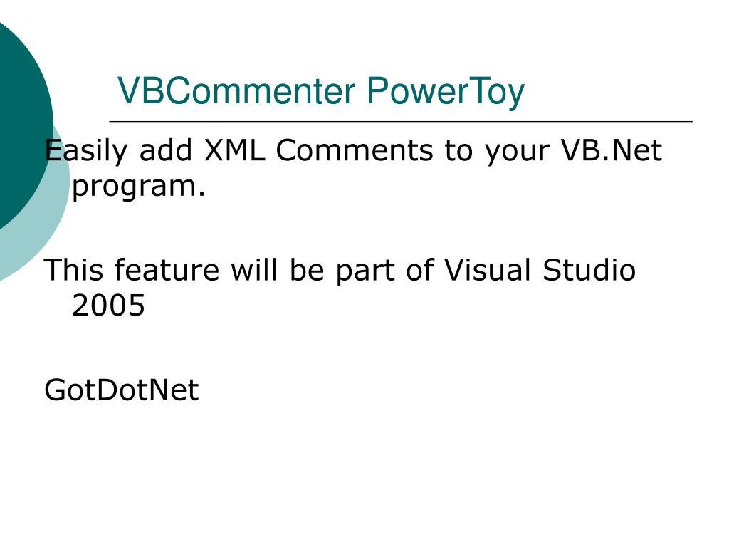 VBCommenter PowerToy