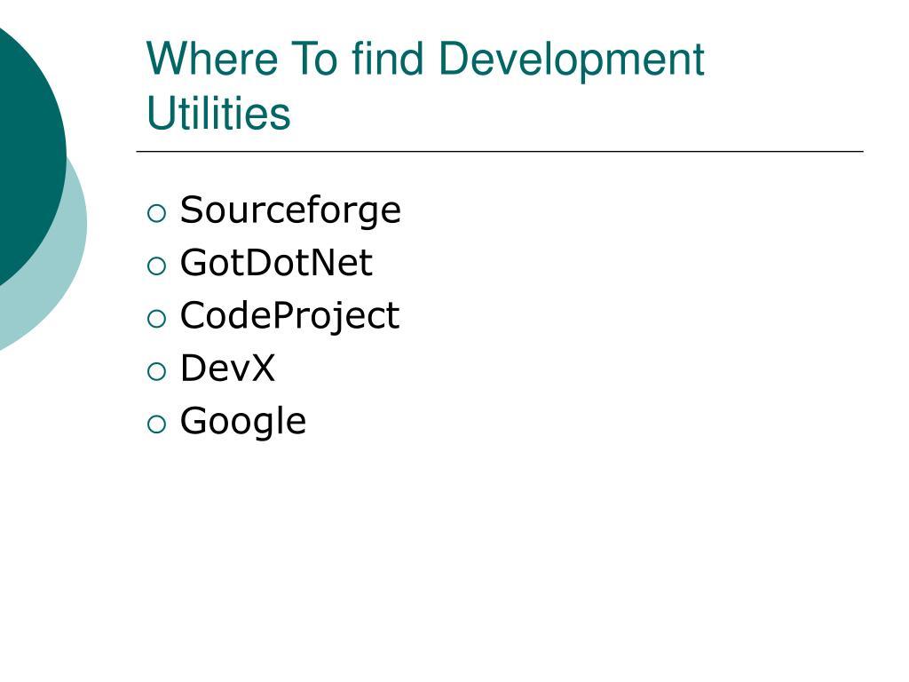 Where To find Development Utilities