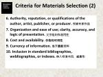 criteria for materials selection 2