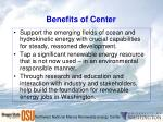 benefits of center