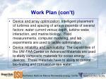 work plan con t