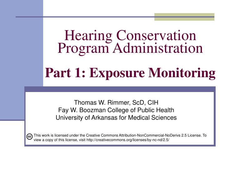 hearing conservation program administration part 1 exposure monitoring n.