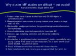 why cluster imf studies are difficult but crucial concise reviews sagar 2000 2001