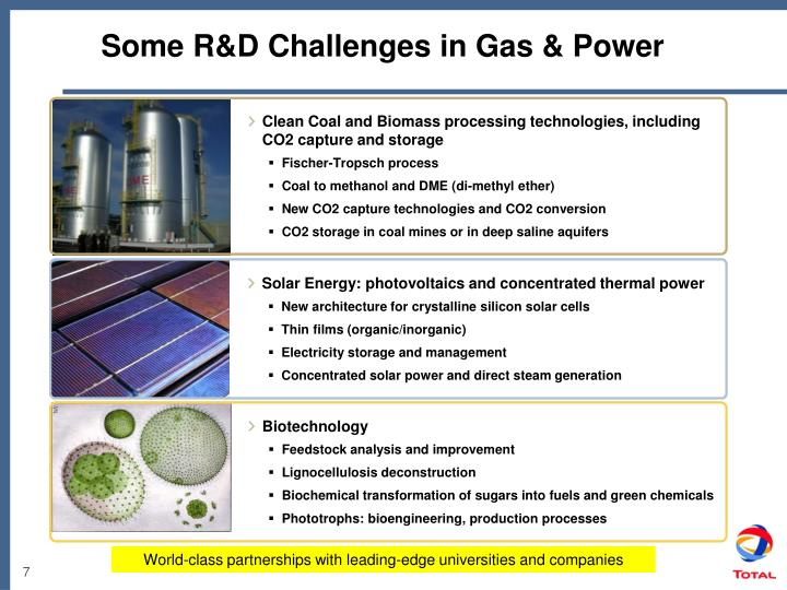 Some R&D Challenges in Gas & Power