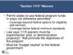 section 1115 waivers