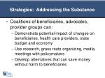 strategies addressing the substance