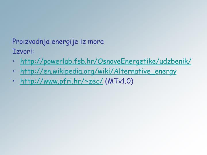 Proizvodnja energije iz mora