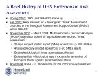 a brief history of dhs bioterrorism risk assessment