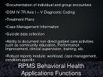 rpms behavioral health applications functions
