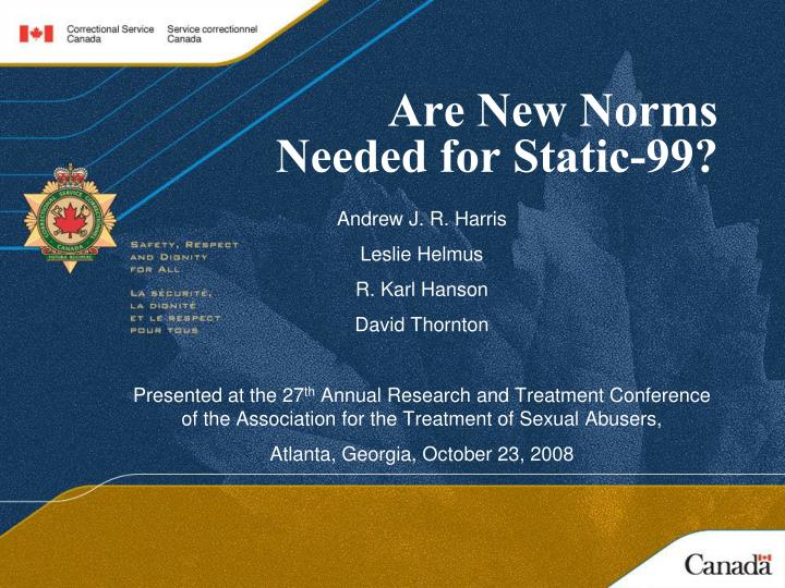 are new norms needed for static 99 n.