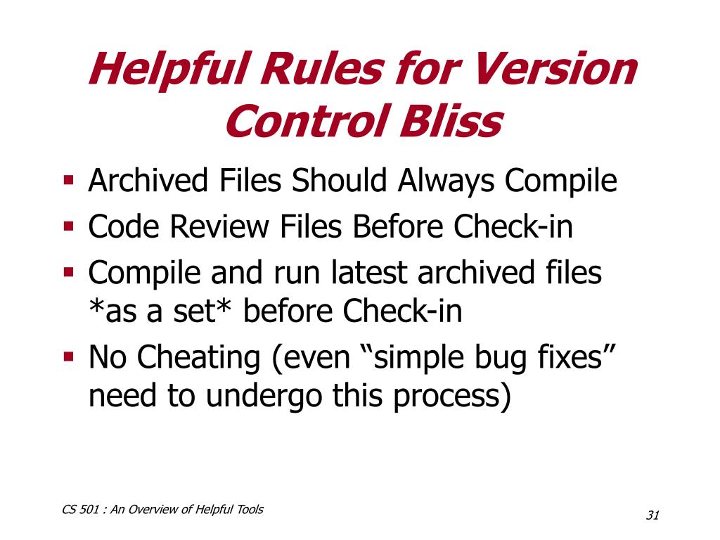 Helpful Rules for Version Control Bliss