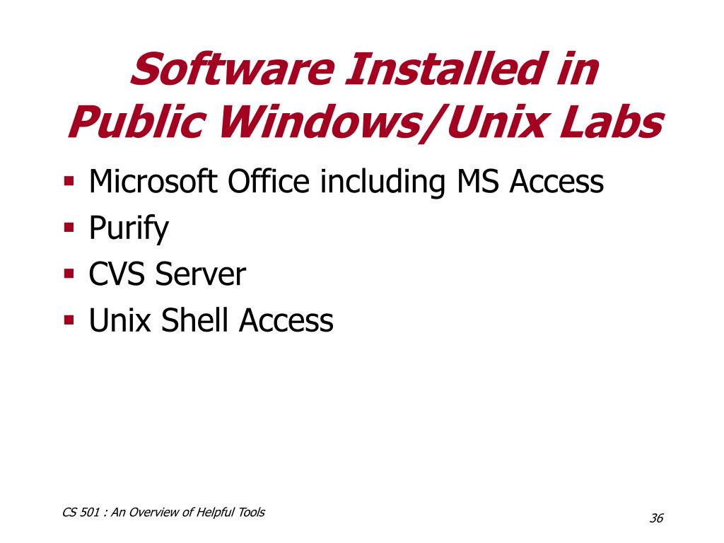 Software Installed in Public Windows/Unix Labs