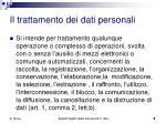 il trattamento dei dati personali