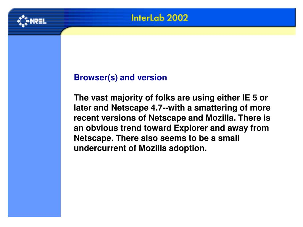 Browser(s) and version