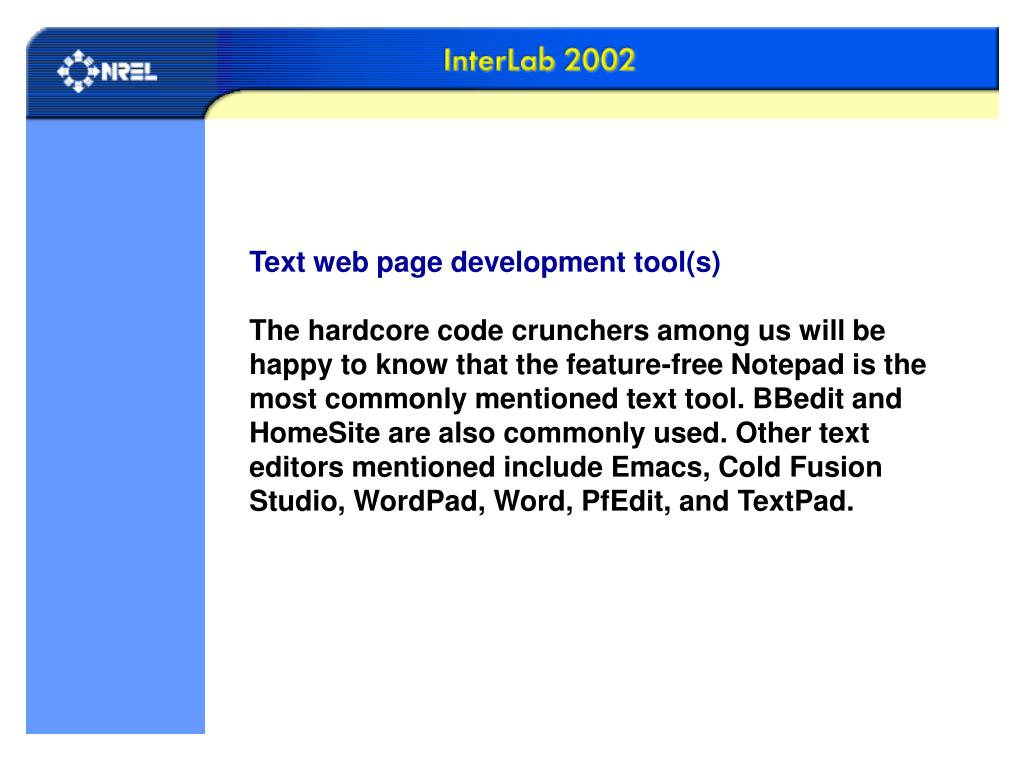 Text web page development tool(s)