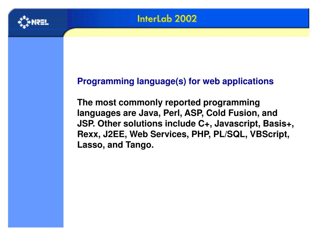 Programming language(s) for web applications