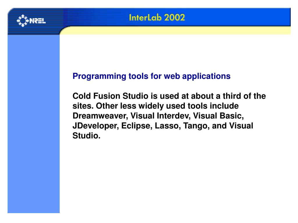 Programming tools for web applications