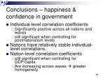 conclusions happiness confidence in government