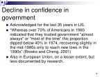 decline in confidence in government