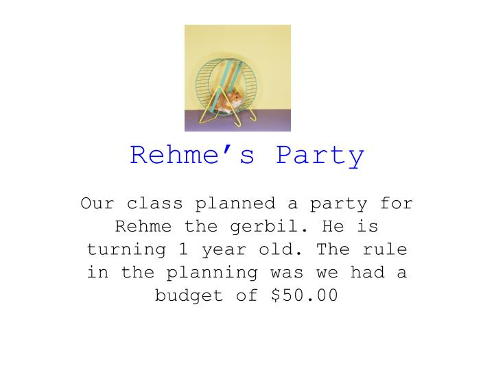 rehme s party n.