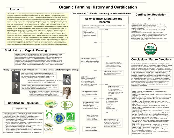 organic farming history and certification n.