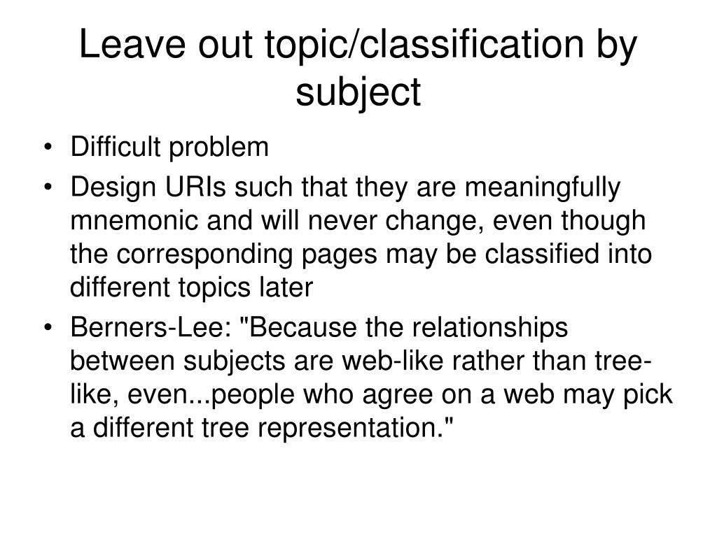 Leave out topic/classification by subject