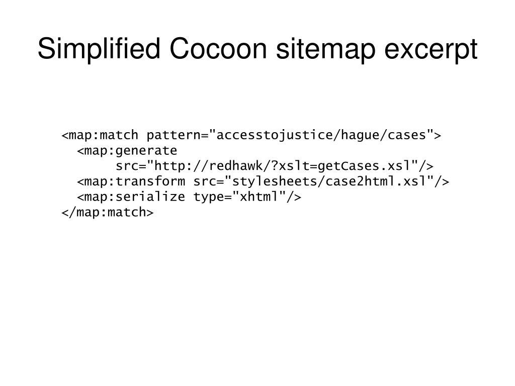 Simplified Cocoon sitemap excerpt