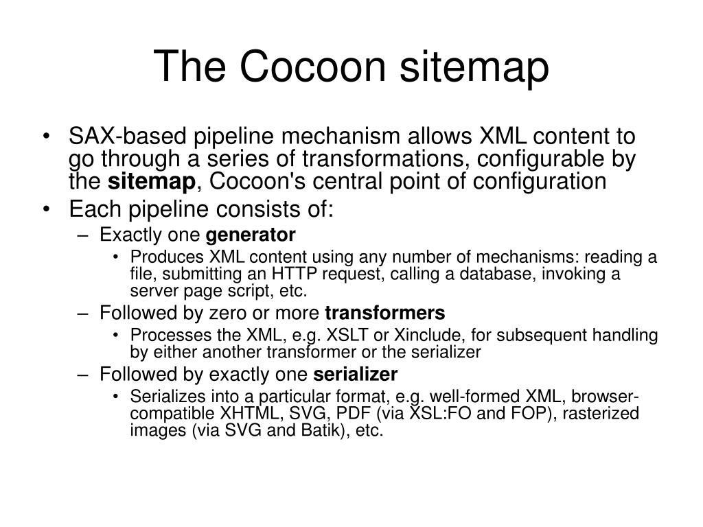 The Cocoon sitemap