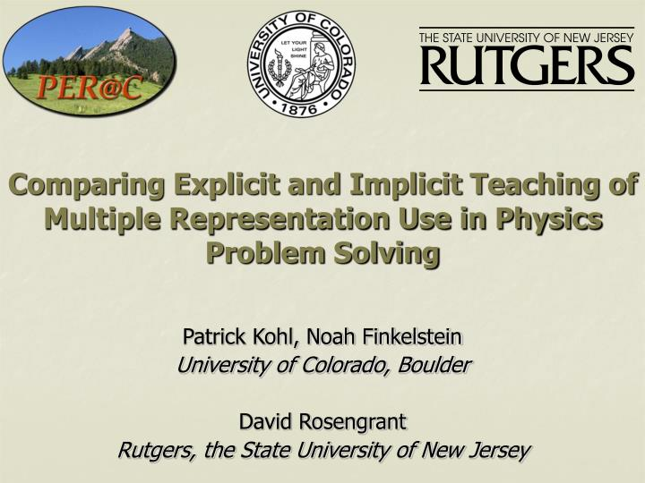 Comparing explicit and implicit teaching of multiple representation use in physics problem solving