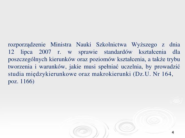 rozporządzenie Ministra Nauki Szkolnictwa Wyższego z dnia