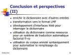 conclusion et perspectives ii