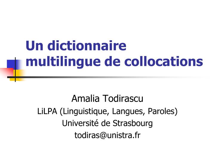 un dictionnaire multilingue de collocations n.