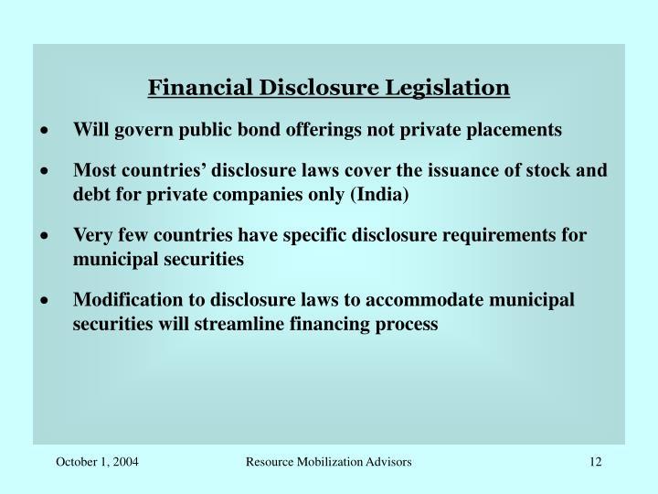 Financial Disclosure Legislation