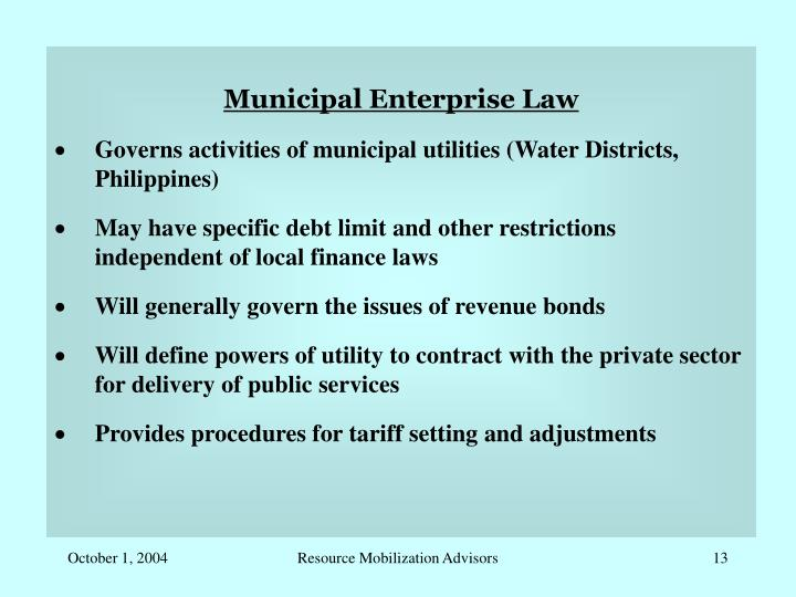 Municipal Enterprise Law
