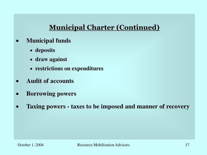 Municipal Charter (Continued)