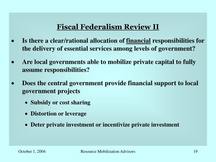 Fiscal Federalism Review II