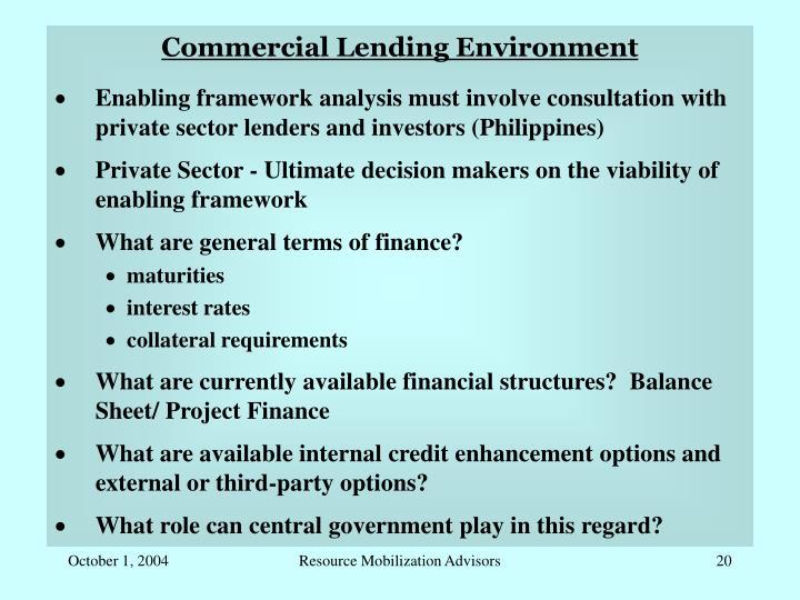 Commercial Lending Environment