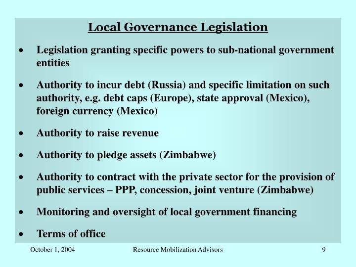 Local Governance Legislation