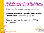 health insurance portability privacy and accountability act of 1996 hipaa