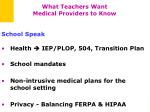 what teachers want medical providers to know1