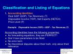 classification and listing of equations