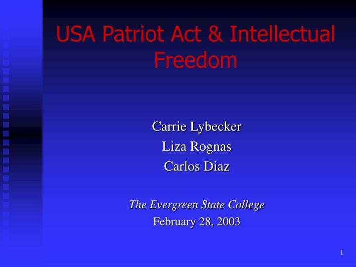 usa patriot act intellectual freedom n.