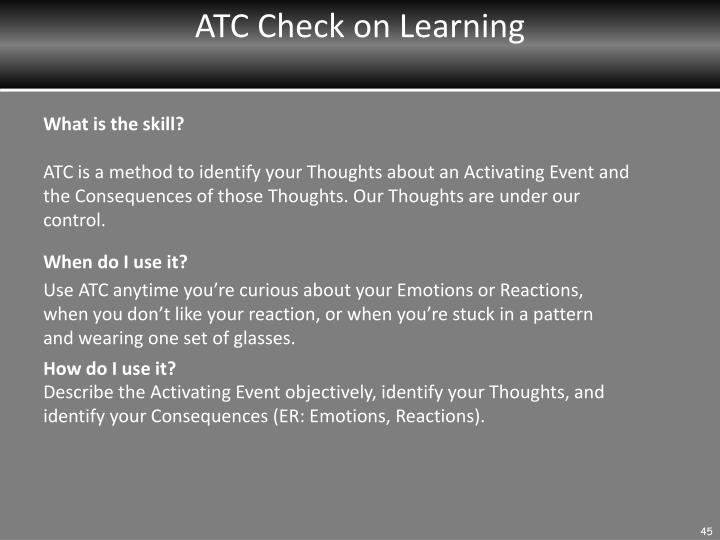 ATC Check on Learning