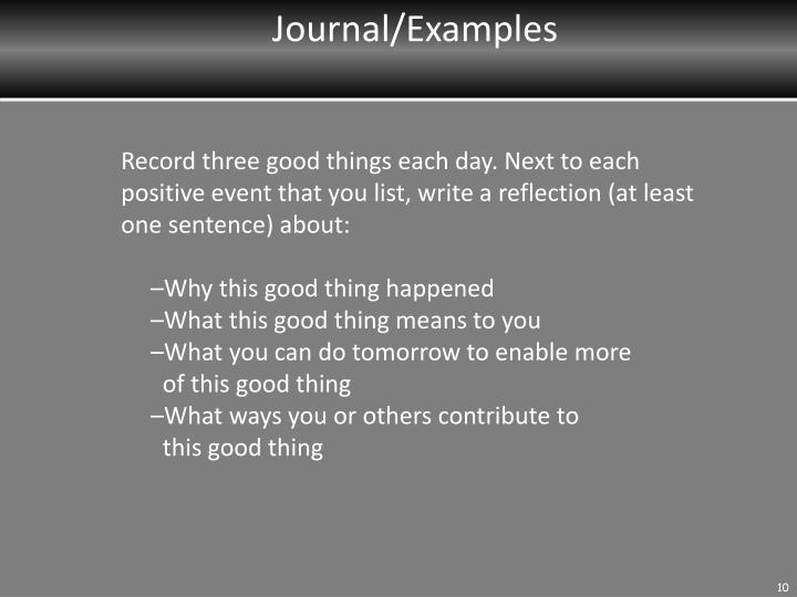 Journal/Examples