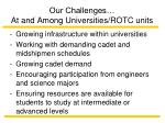 our challenges at and among universities rotc units