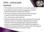 cpm critical path method