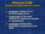 vba and com building the digital nervous system