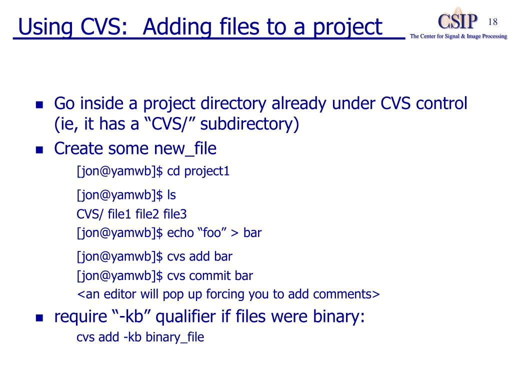 Using CVS:  Adding files to a project